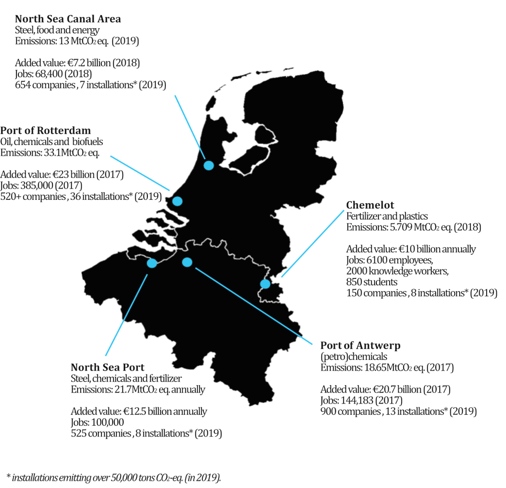 A map of details on industrial clusters
